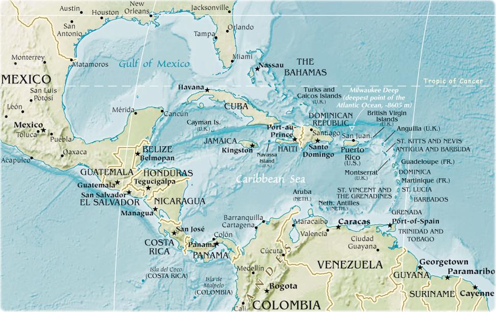 Mapa caribe islas