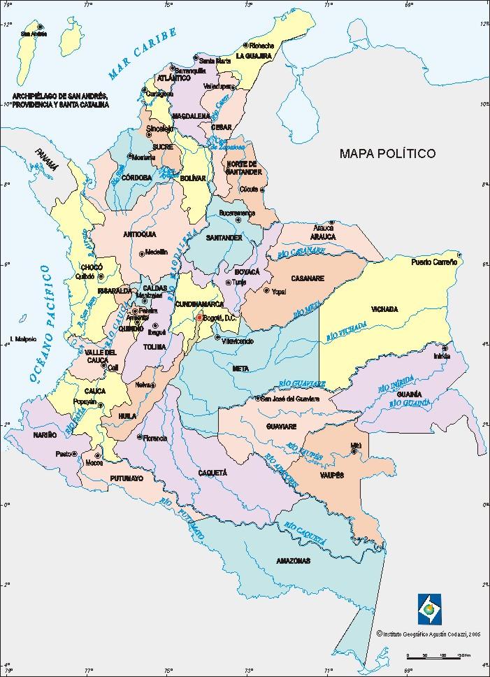 Mapa colombia departamentos