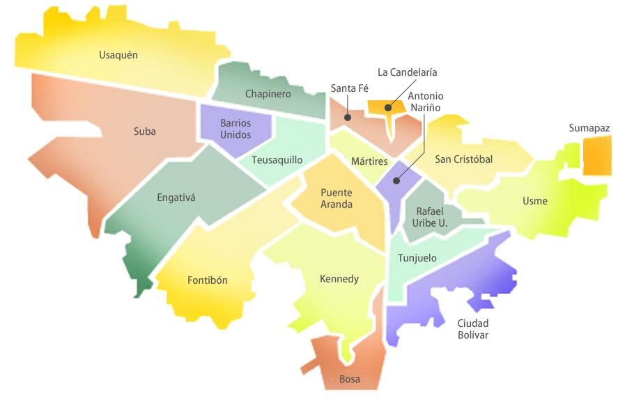 Mapa de bogota localidades