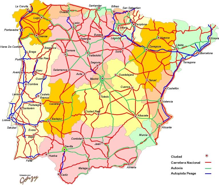 Mapa de carreteras españa
