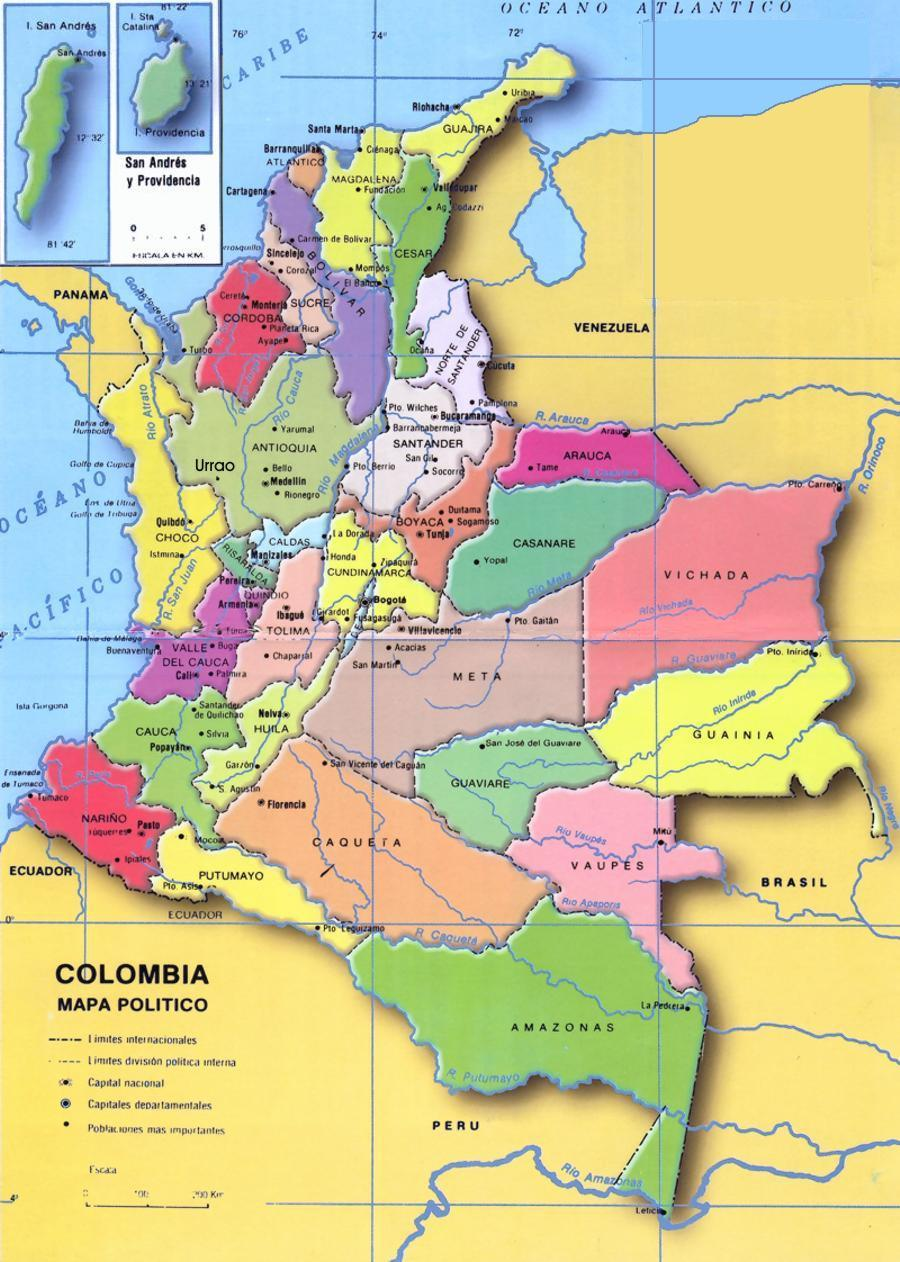 Mapa de colombia con sus departamentos