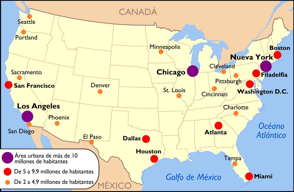 Mapa de eeuu canada y mexico
