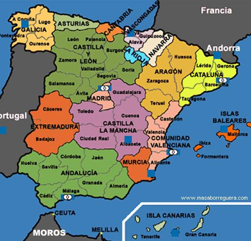 Mapa de españa político gratis