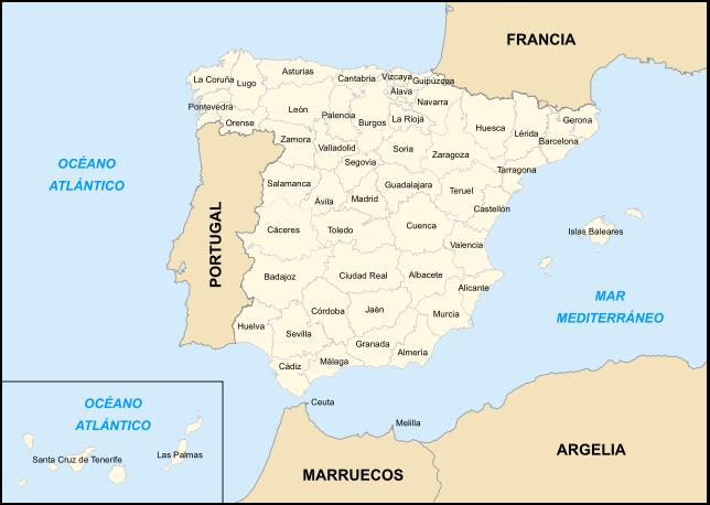 Mapa de españa provincia