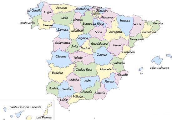 Mapa de españa provincias