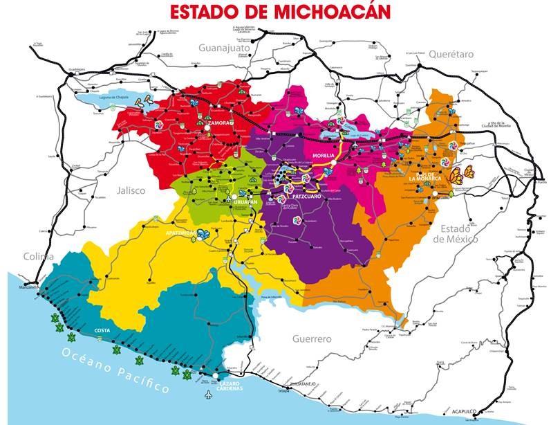 Mapa de estado michoacan