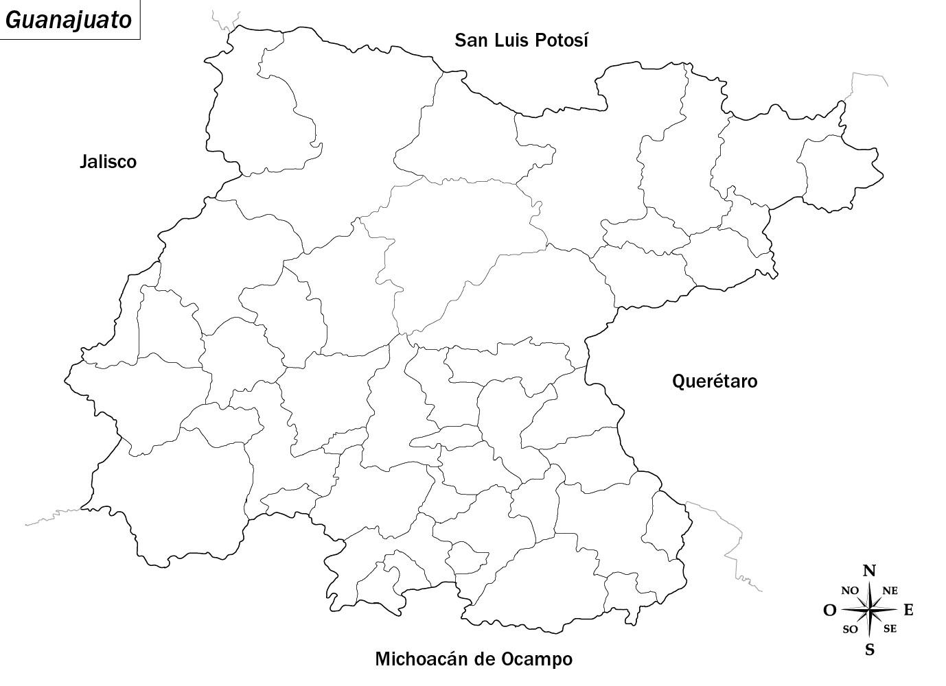 Mapa de guanajuato mexico