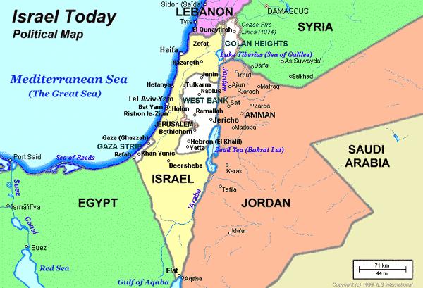 Mapa de israel Oriente