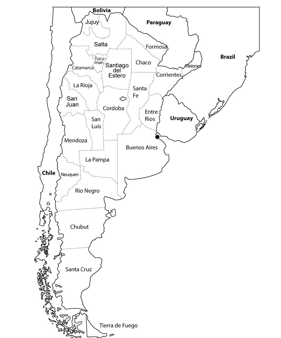 Mapa de la argentina nombres