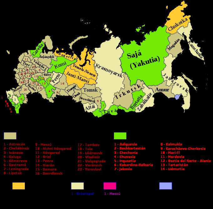 Mapa de rusia online