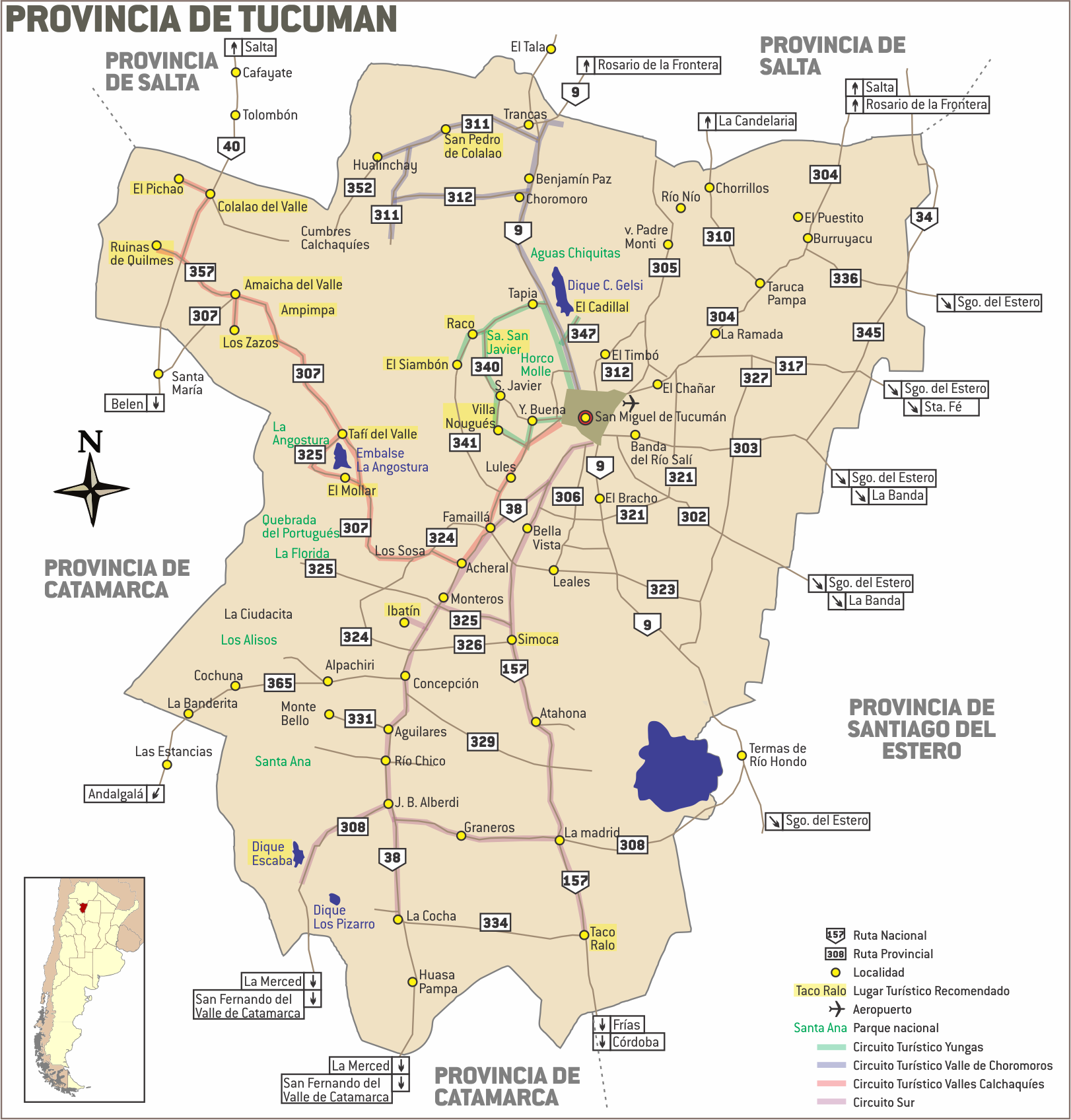 Mapa de tucuman rutas