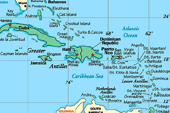 Mapa del caribe islas