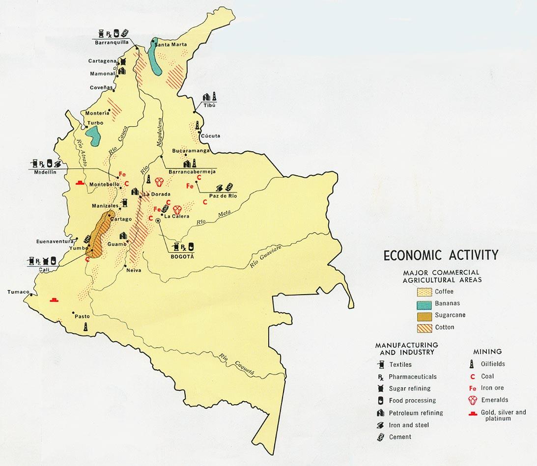 Mapa economico de colombia