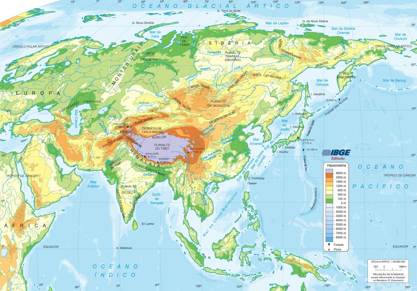 Mapa Asia Fisico  threeblindantscom