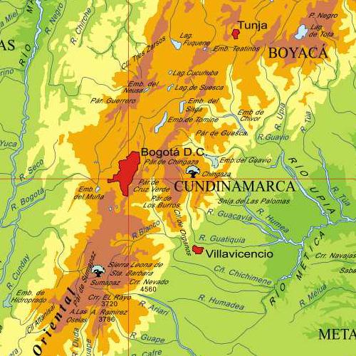 Mapa fisico colombia gratis