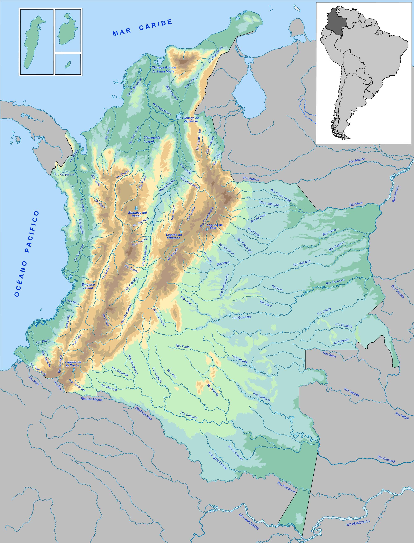 Mapa fisico de colombia ejemplo