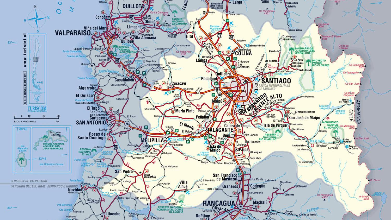 Mapa de santiago de chile for Calles de santiago de chile