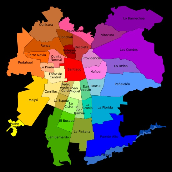 Mapa de santiago for Calles de santiago de chile