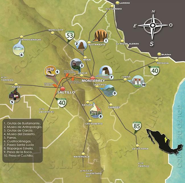 Mapa turisco de monterrey