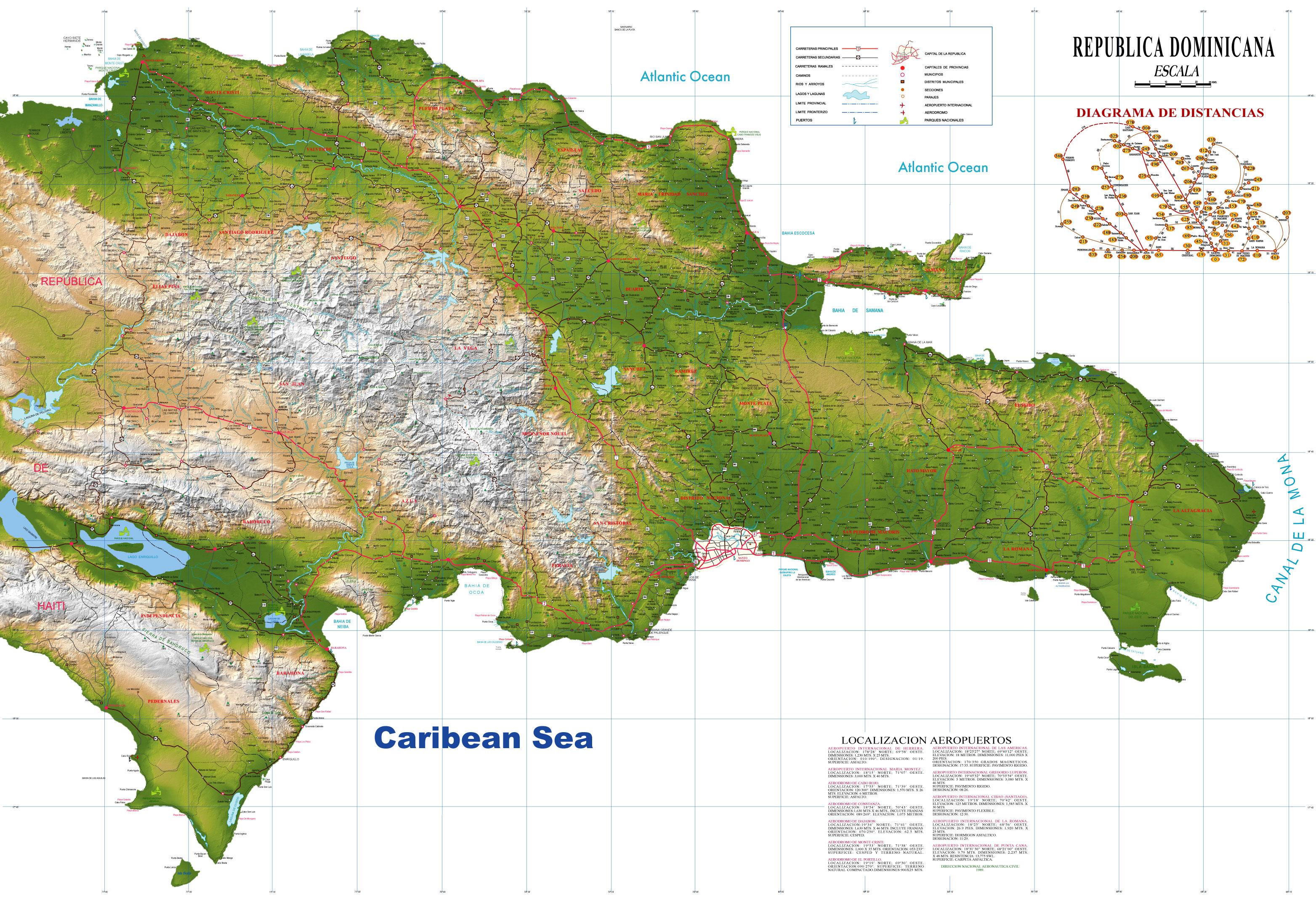 Ver el mapa de la República Dominicana via satelite