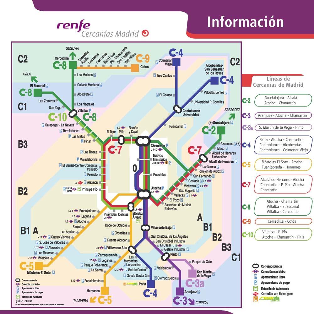 Mapa cercanias madrid informacion