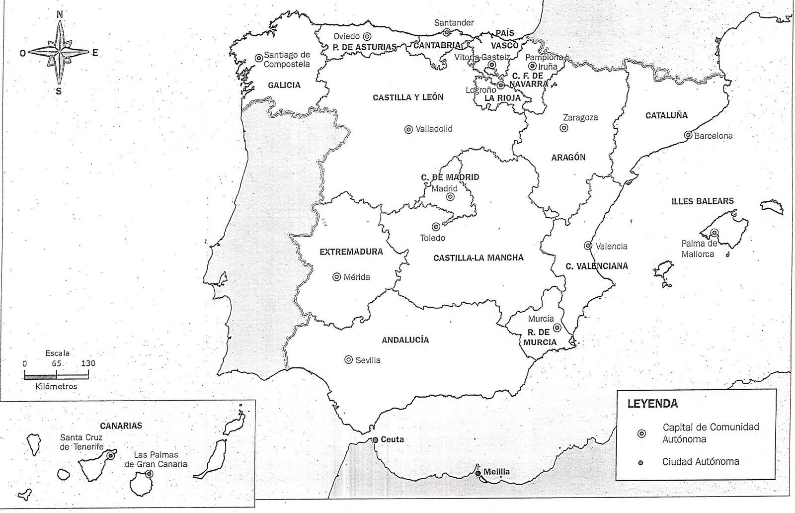 Mapa España Comunidades Blanco.Ver El Mapa De Espana
