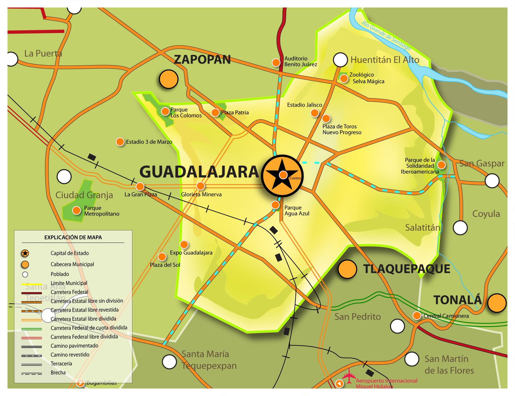 Mapa de Guadalajara online