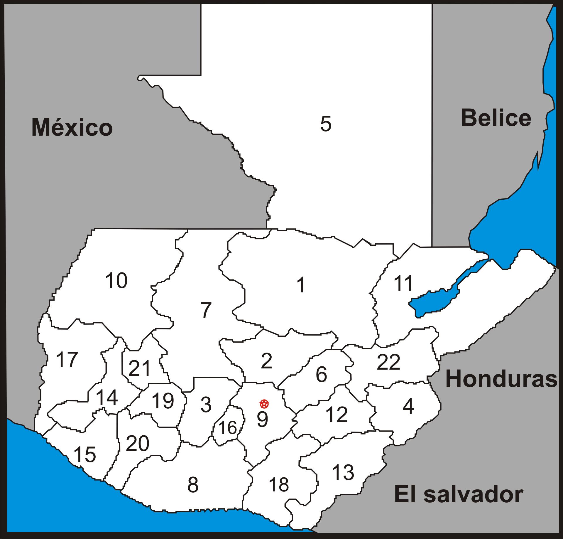 Mapa de Guatemala estados