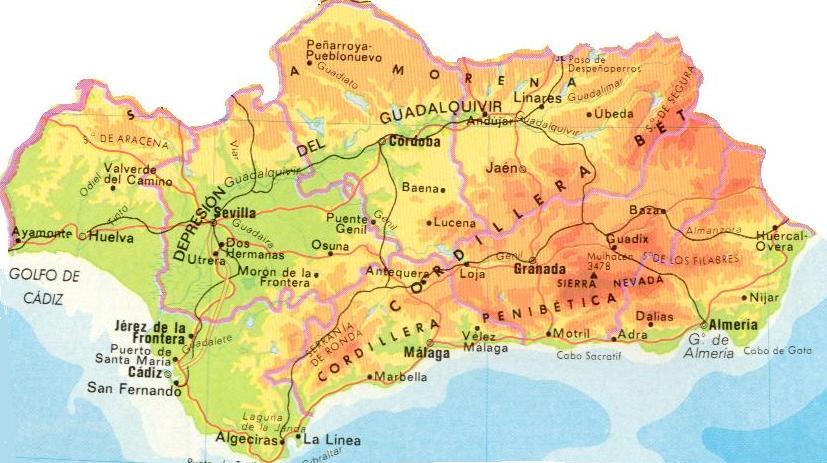 Mapa de andalucia fisico