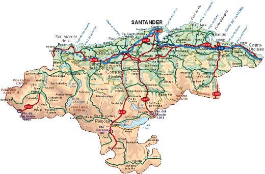 Mapa de cantabria provincia