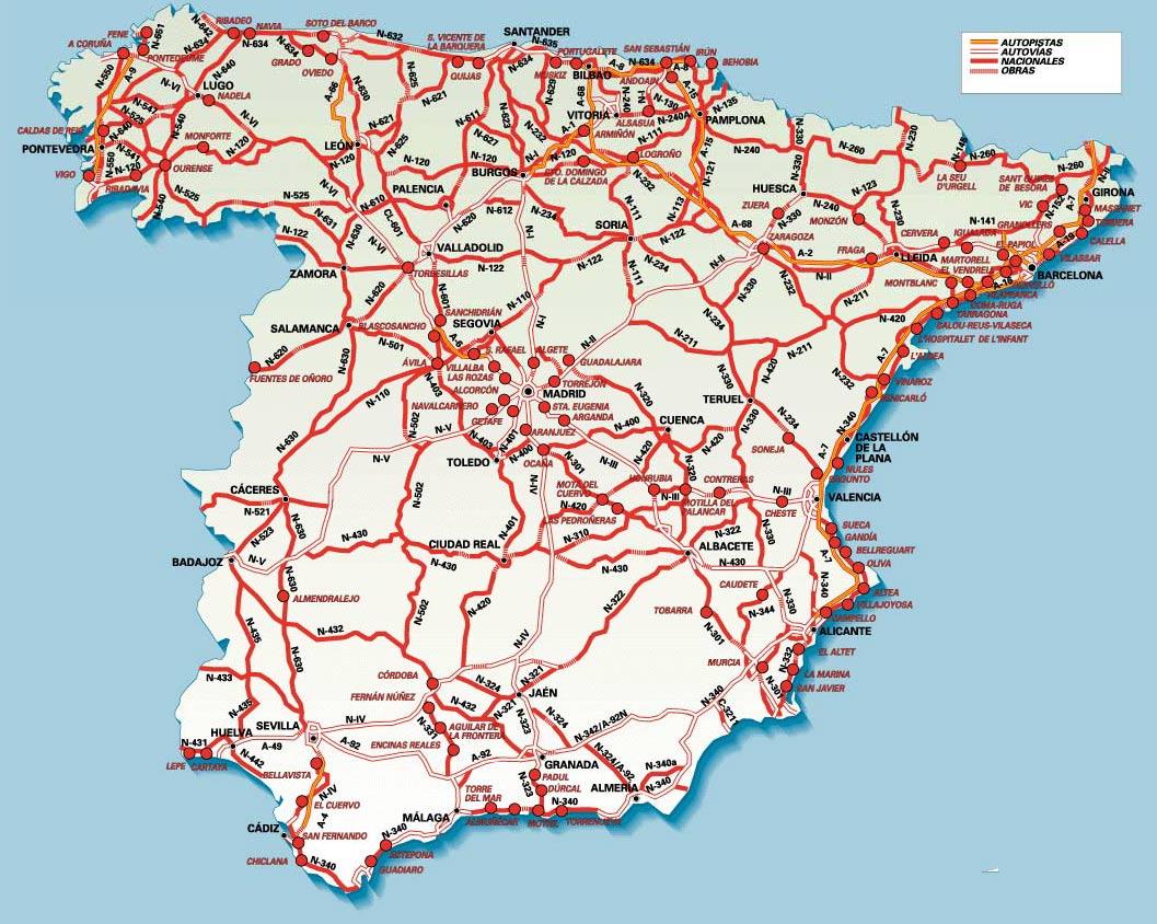 Mapa De Carreteras De Espana