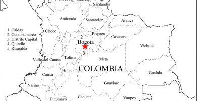 Mapa de colombia departamentos
