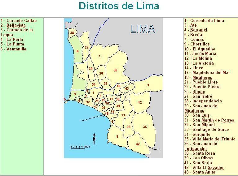 Mapa de distrito lima
