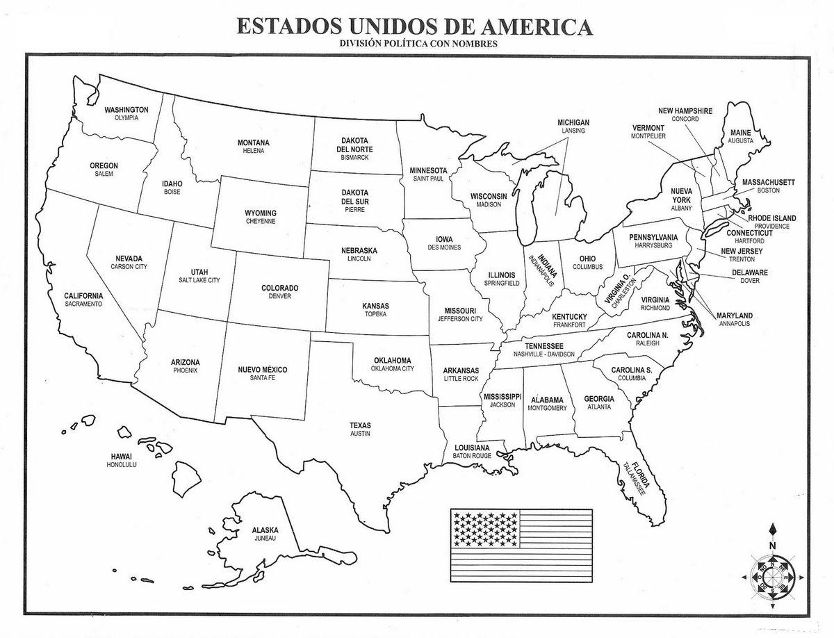 Mapa de eeuu estaod unidos