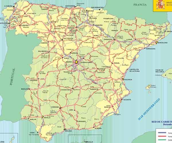 Mapa de españa provincias carreteras
