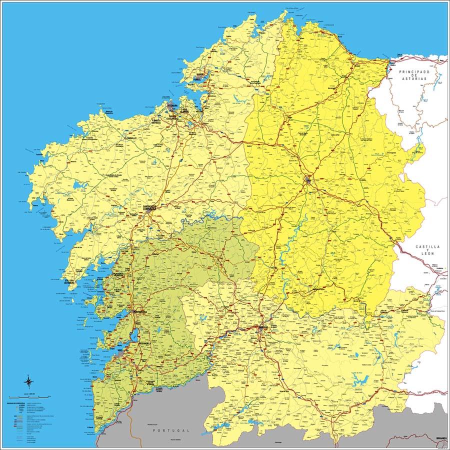 Mapa De Galicia España.Mapa De Galicia