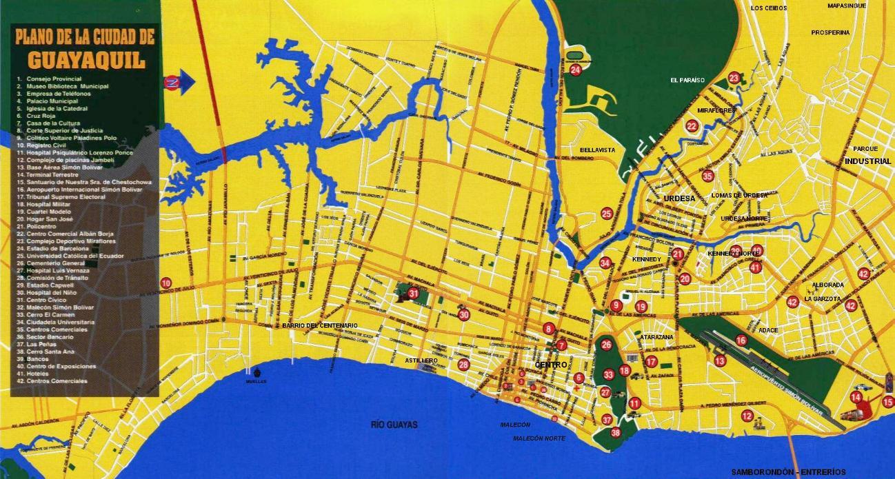 Mapa de guayaquil plano