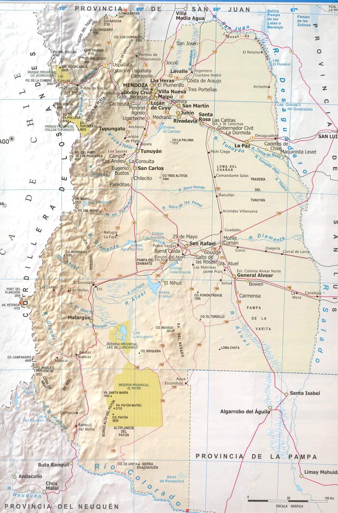 Mapa de mendoza rutas