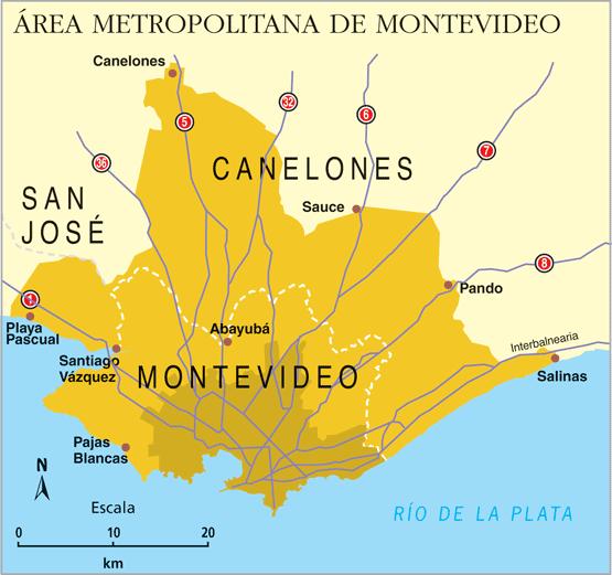 Mapa de montevideo metropolitana