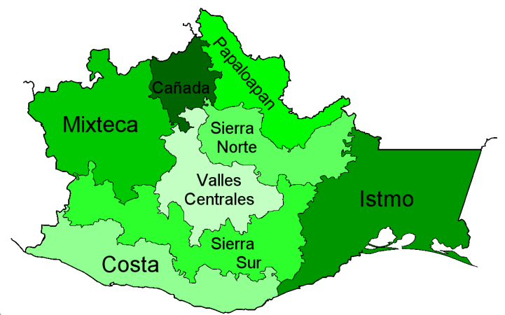 Mapa de oaxaca regiones