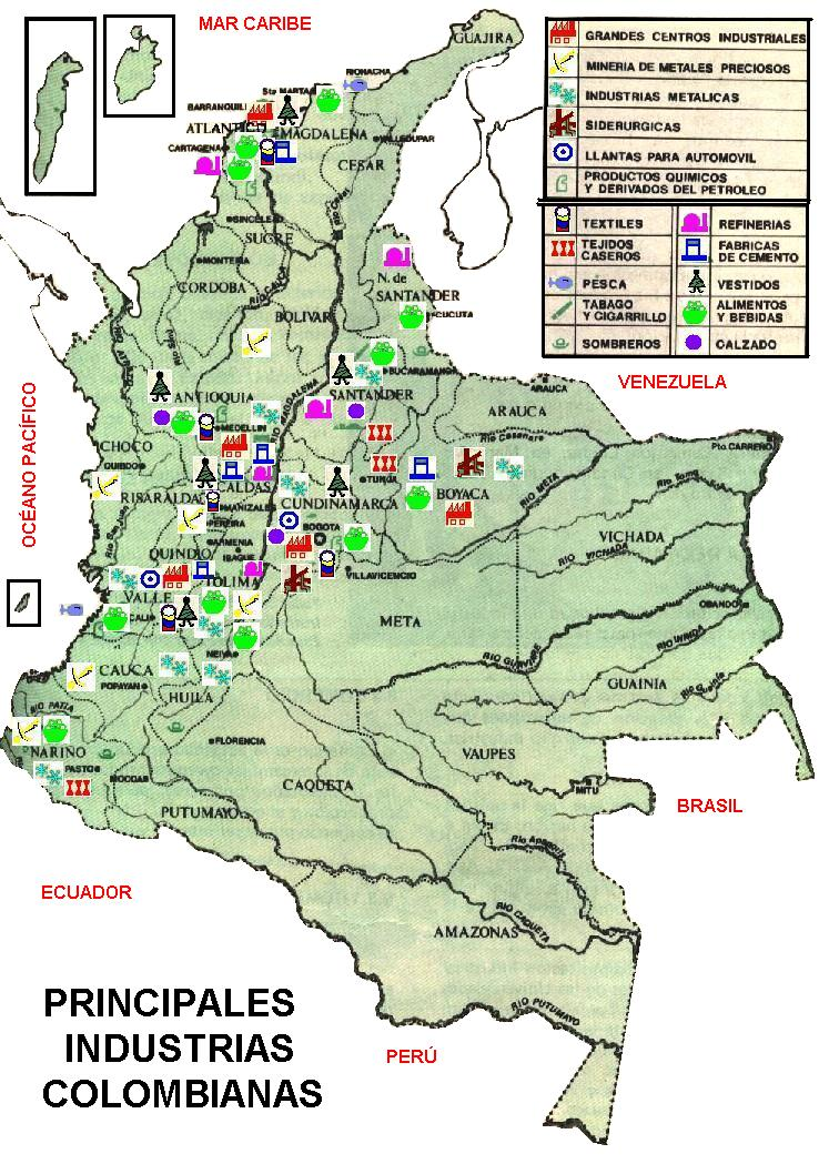 Mapa economico colombia grande