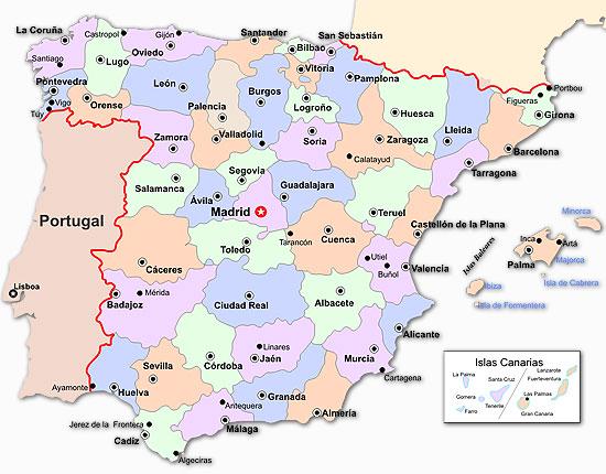 Mapa De Espana Por Provincias