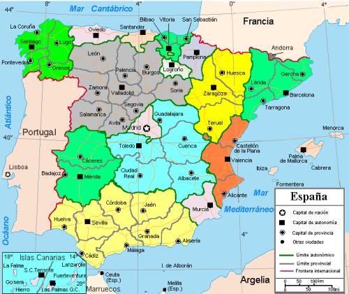 Mapa De Provincias Españolas.Mapa De Espana Provincias