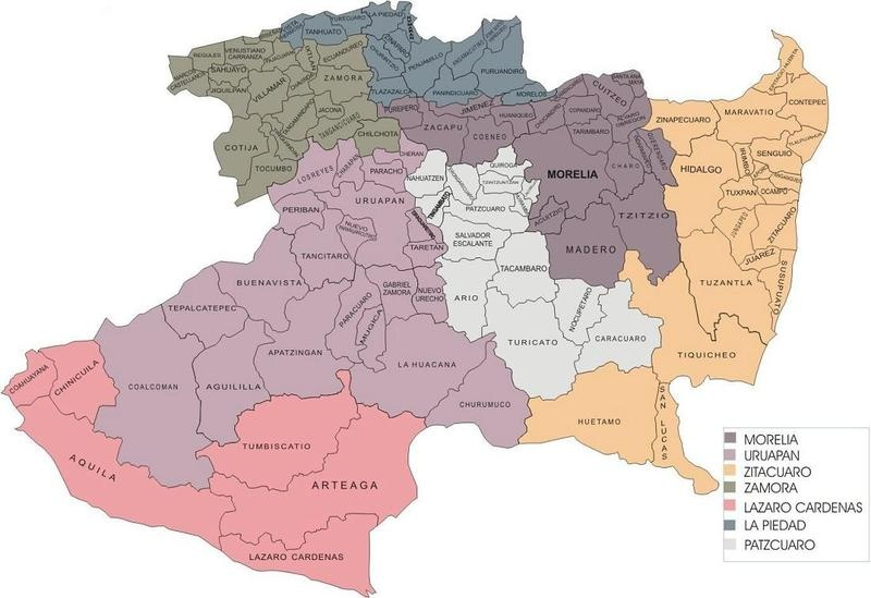 Mapa estado michoacan