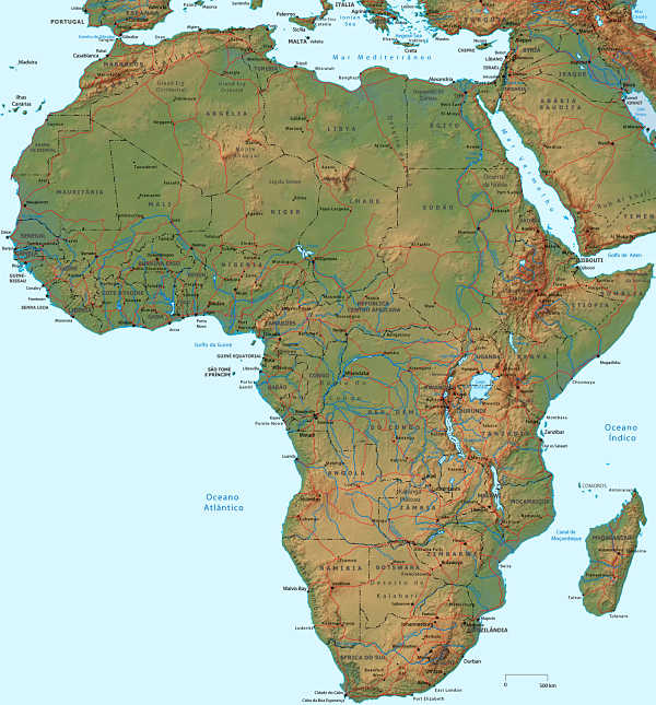 Mapa fisico de africa online