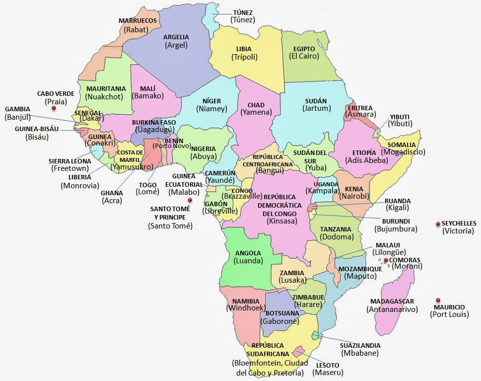 Mapa politico de africa gratis