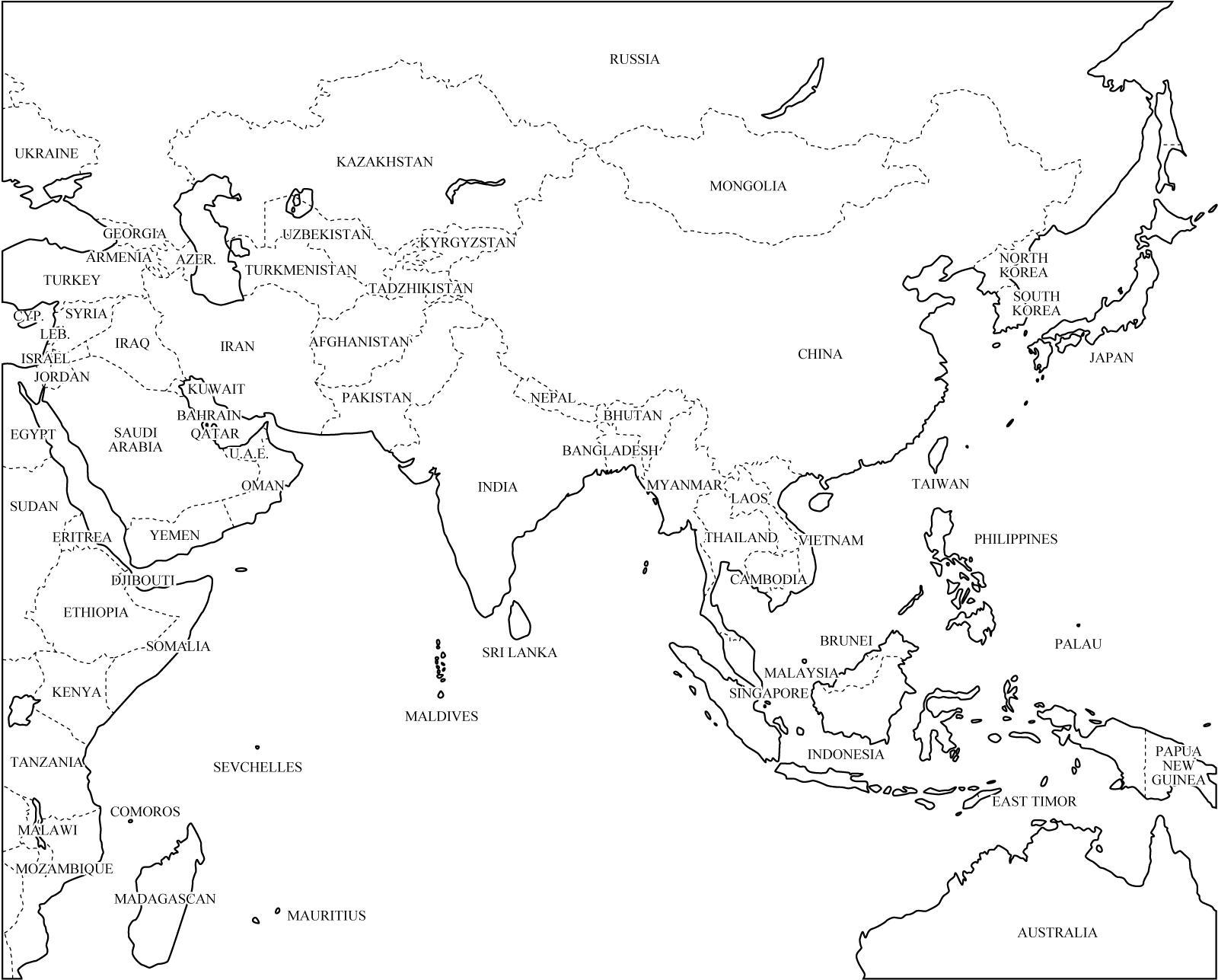 Mapa politico de asia online