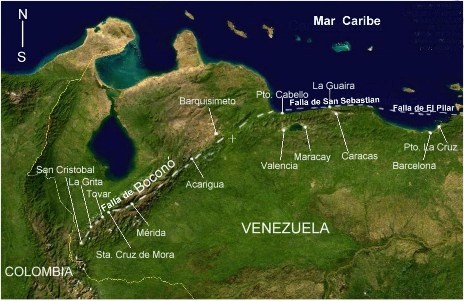 Mapa satelital mar caribe