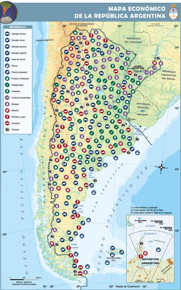 mapa argentina economico